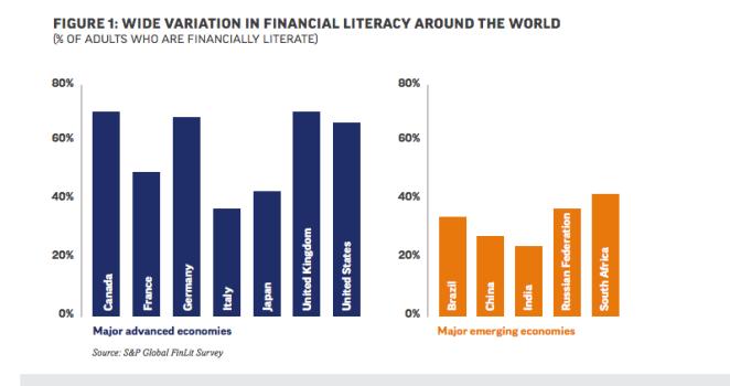 Variation of financial literacy around the world